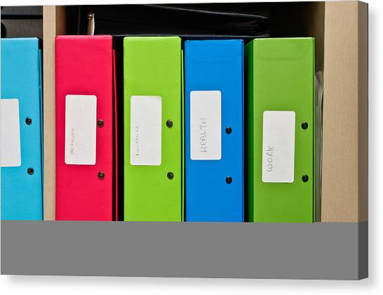 Folders Canvas Print - Box Files by Tom Gowanlock