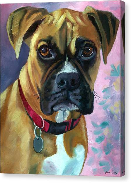 Boxer Dog Canvas Print - Boxer Dog Portrait by Lyn Cook