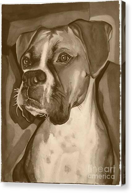 Boxer Dog Sepia Print Canvas Print