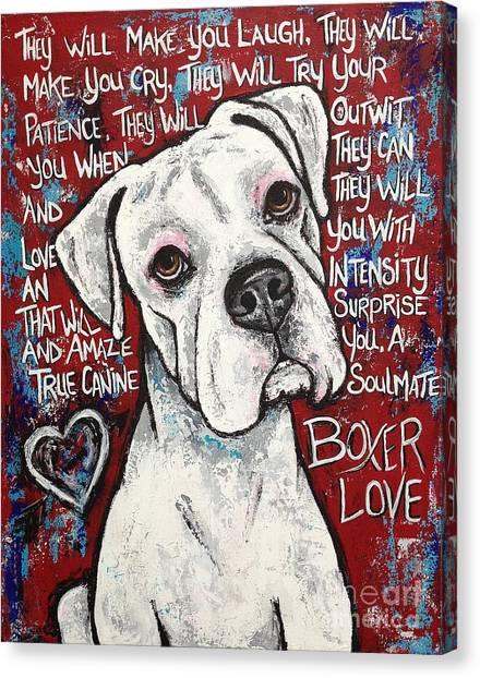 Boxer Dog Canvas Print - Boxer Love by Stephanie Gerace