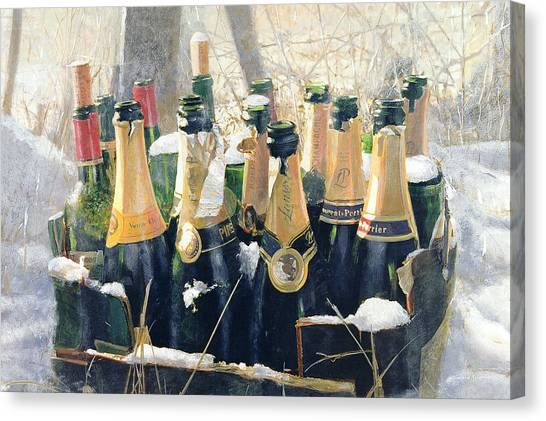 Champagne Canvas Print - Boxing Day Empties by Lincoln Seligman