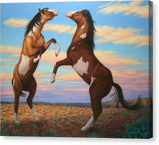 Fighting Canvas Print - Boxing Horses by James W Johnson
