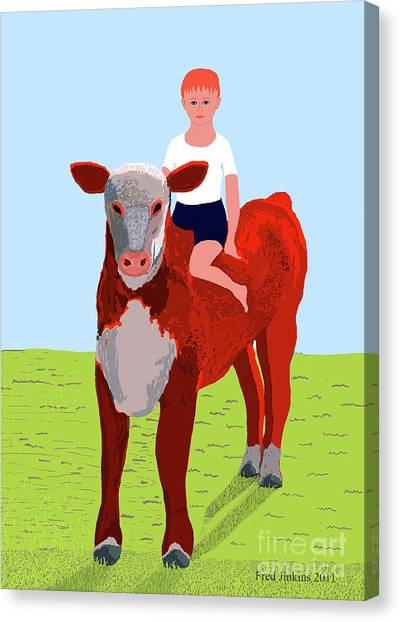 Boy And Calf Canvas Print