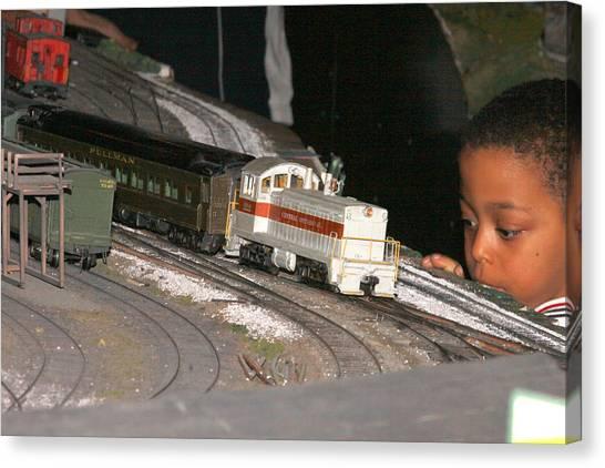 Boy And Train Canvas Print by Hugh McClean