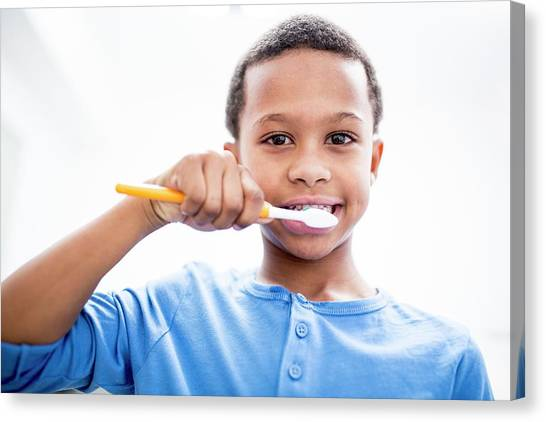 Toothbrush Canvas Print - Boy Brushing Teeth by Science Photo Library