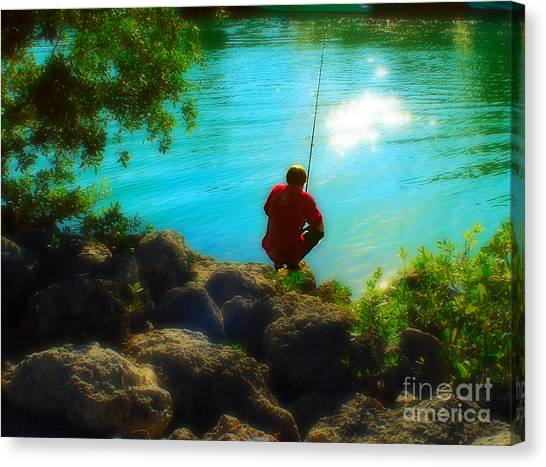 Boy Fishing Canvas Print by Andres LaBrada