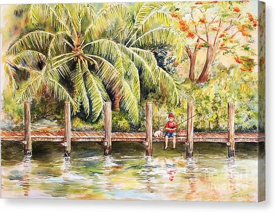 Boy Fishing With Dog Canvas Print
