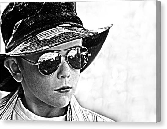 Canvas Print featuring the photograph Boy In Aviators by Kelly Hazel
