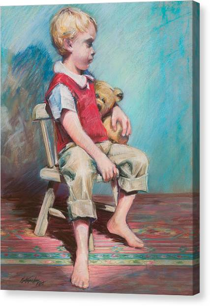 Boy In Chair Canvas Print by Beverly Amundson