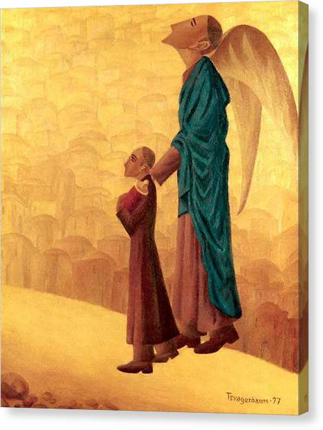 American Jewish Artists Canvas Print - Boy Leading The Blind Angel by Israel Tsvaygenbaum