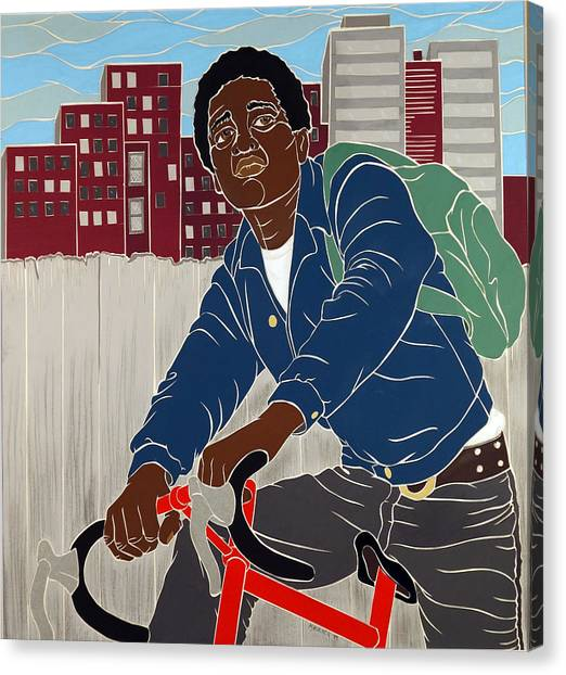 Boy On A Bike Canvas Print