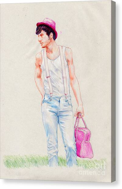 Boy On The Edge Of A Road Canvas Print by Line Arion