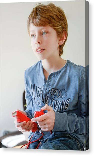 Wii Canvas Print - Boy Playing Wii Video Game by Aj Photo