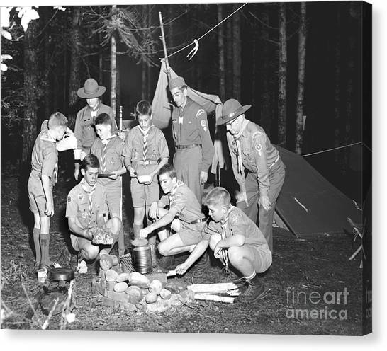 Canvas Print featuring the photograph Boy Scouts Campout 1962 Ca by Merle Junk