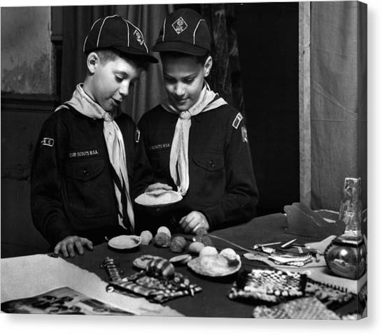 Boy Scouts Canvas Print - Boy Scouts Looking At Find by Retro Images Archive