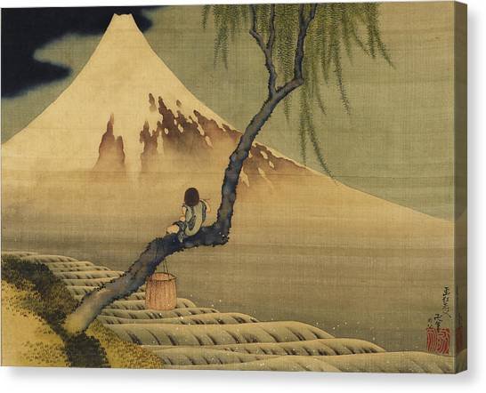Boy Viewing Mount Fuji Canvas Print