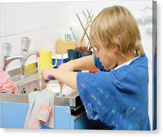 Classroom Canvas Print - Boy Washing His Hands by Martin Riedl/science Photo Library