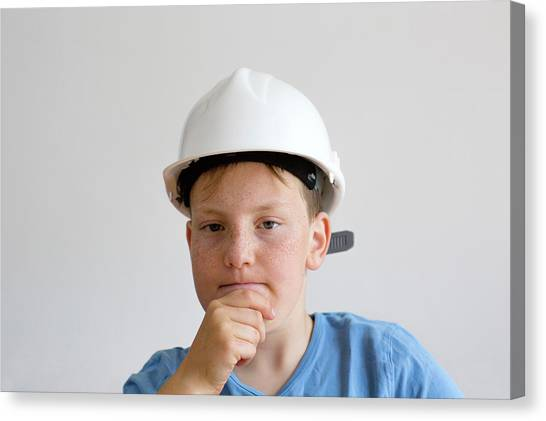 Hard Hat Canvas Print - Boy Wearing Hard Hat by Gombert, Sigrid