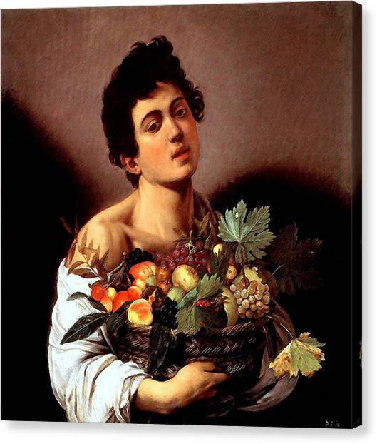 Boy With A Basket Of Fruits Canvas Print
