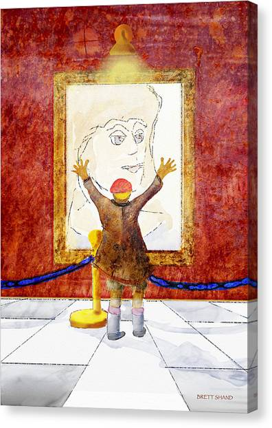 Boy With A Portrait Of His Mother Canvas Print by Brett Shand