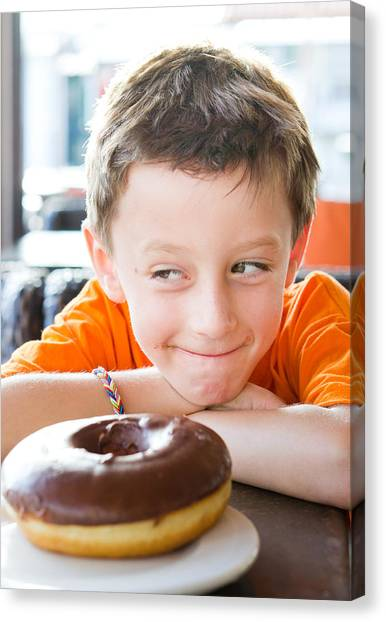 Doughnuts Canvas Print - Boy With Donut by Tom Gowanlock
