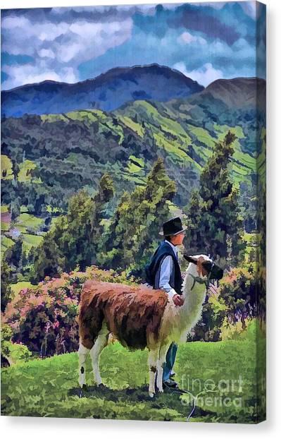Boy With Llama  Canvas Print