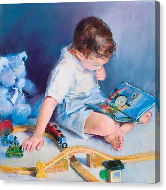 Boy With Train Canvas Print by Beverly Amundson