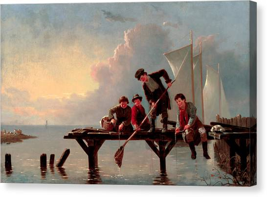 Crabbing Canvas Print - Boys Crabbing by William Ranney