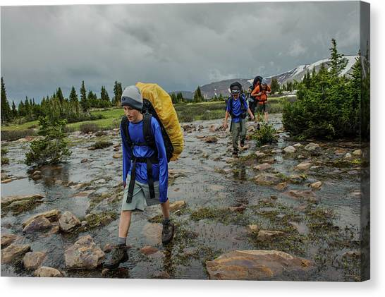Uinta Canvas Print - Boys Cross Streams During A Backpack by Beth Wald