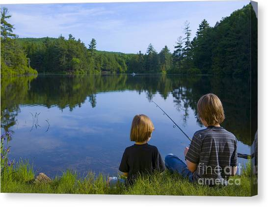 Fishing Poles Canvas Print - Boys Fishing by Diane Diederich