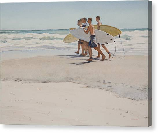 Watercolor Canvas Print - Boys Of Summer by Christopher Reid