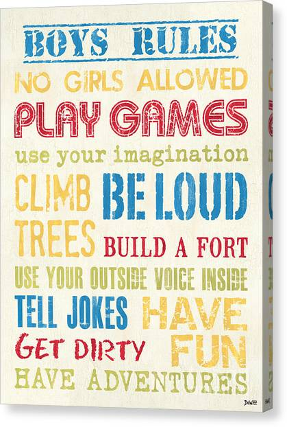 Boy Canvas Print - Boys Rules by Debbie DeWitt