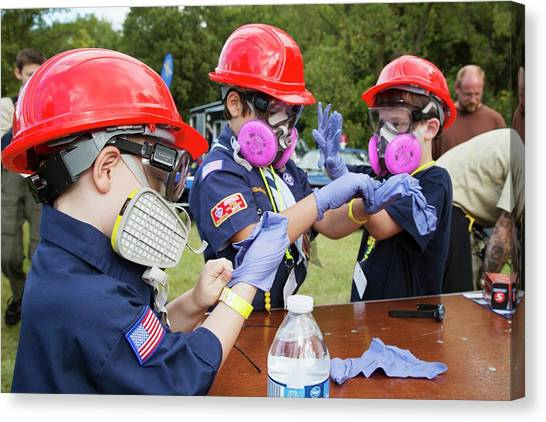 Boy Scouts Canvas Print - Boys Trying On Protective Equipment by Jim West
