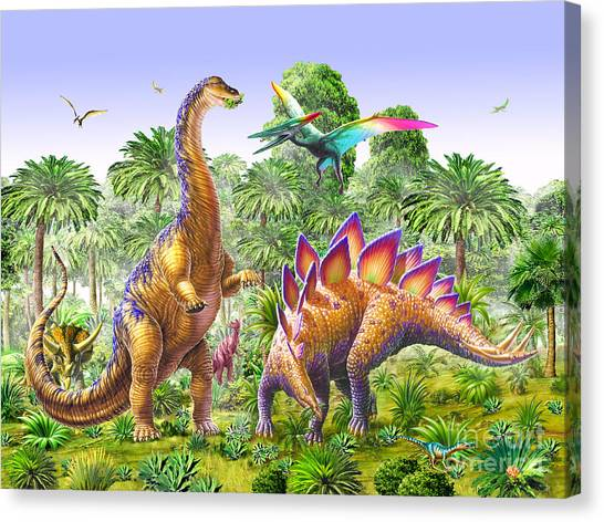 Brachiosaurus Canvas Print - Brachiosaur And Stegasaur by Adrian Chesterman