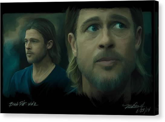 World War Z Canvas Print - Brad Pitt W W Z by Mark Gallegos