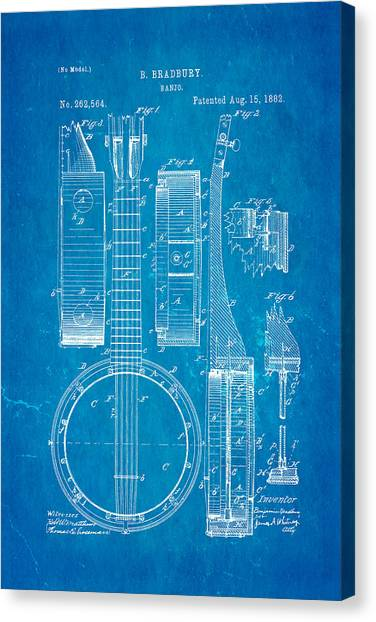 Stringed Instruments Canvas Print - Bradbury Banjo Patent Art 1882 Blueprint by Ian Monk