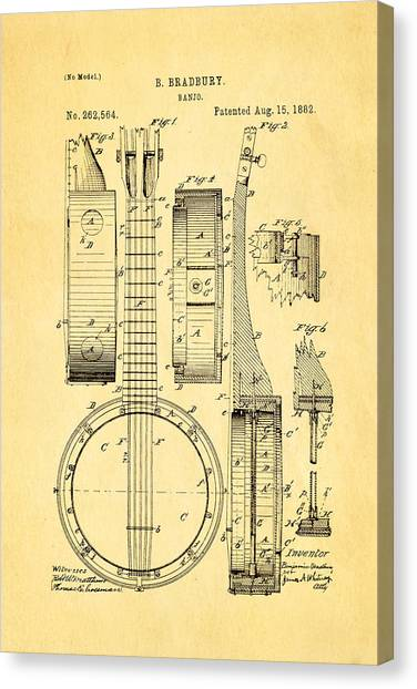 Stringed Instruments Canvas Print - Bradbury Banjo Patent Art 1882 by Ian Monk