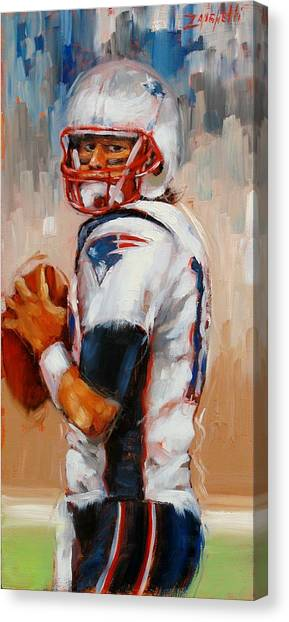 Quarterbacks Canvas Print - Brady Boy by Laura Lee Zanghetti