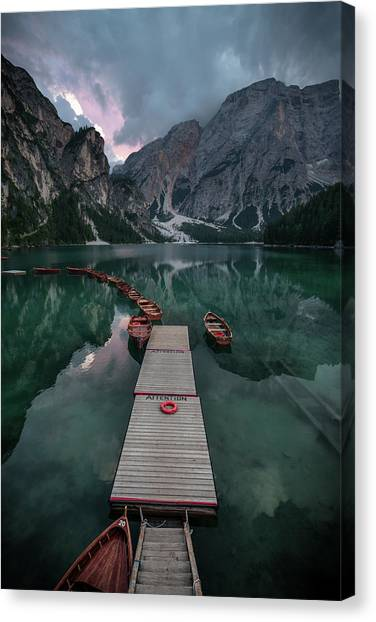 Dolomites Canvas Print - Braies Reflections by Marco Tagliarino