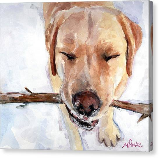 Yellow Lab Canvas Print - Brain Freeze by Molly Poole