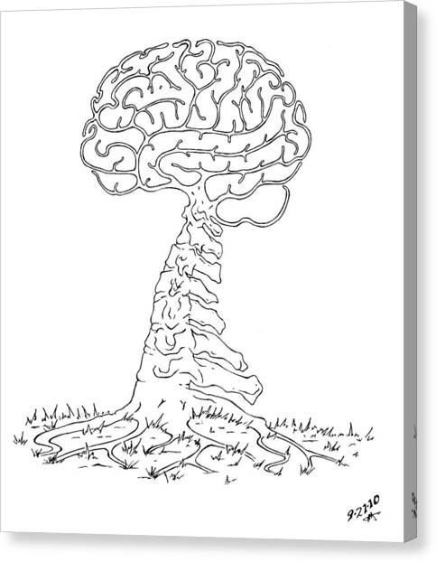 Ballpoint Pens Canvas Print - Brain Tree by Robert Fenwick May Jr
