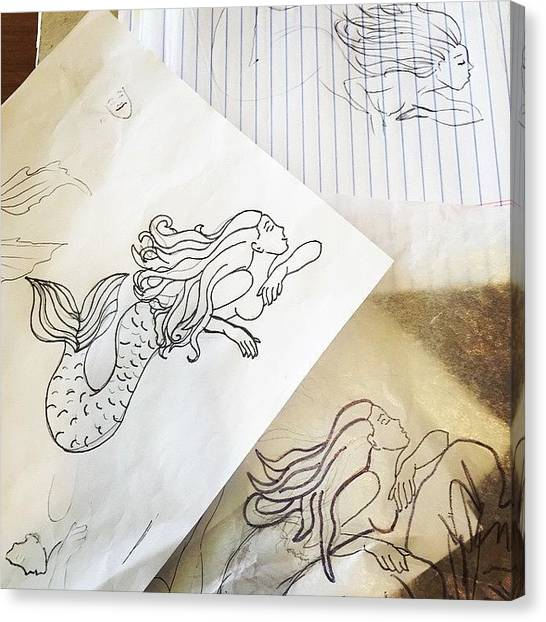 Tattoo Canvas Print - Mermaid Sketches by Marybeth Galvin