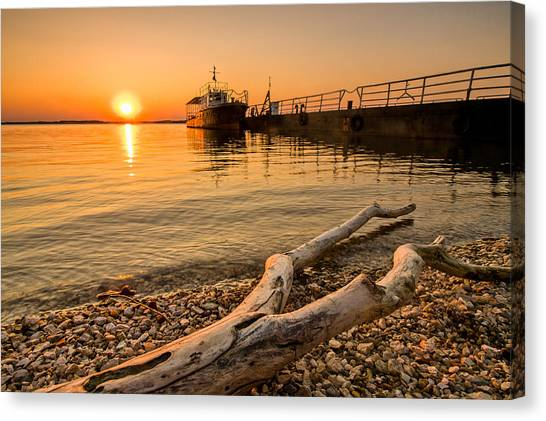 Danube Canvas Print - Branch Barge And Sunset by Davorin Mance
