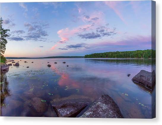 Branch Lake Mirror Sunset Canvas Print