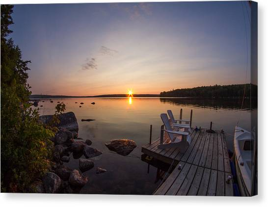 Branch Lake Sunrise In Maine Canvas Print