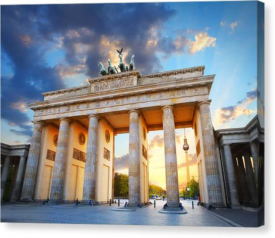 Brandenburg Gate And The Tv Tower In Berlin Canvas Print by Narvikk