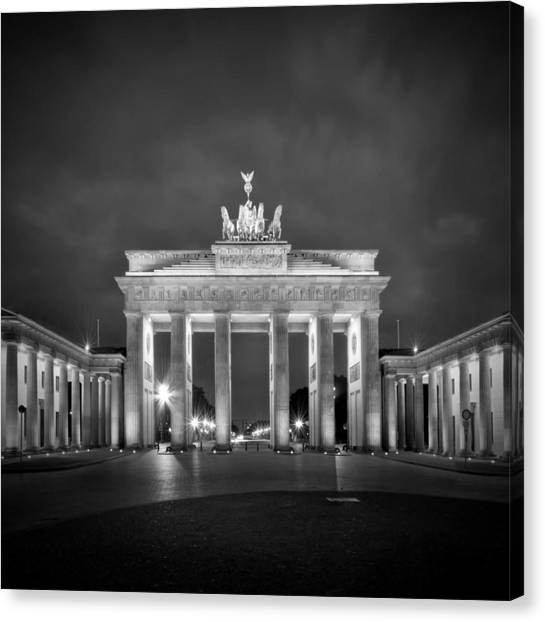 Neoclassical Art Canvas Print - Brandenburg Gate Berlin Black And White by Melanie Viola
