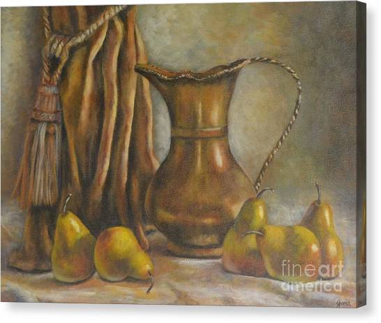 Brass And Pears Canvas Print by Jana Baker