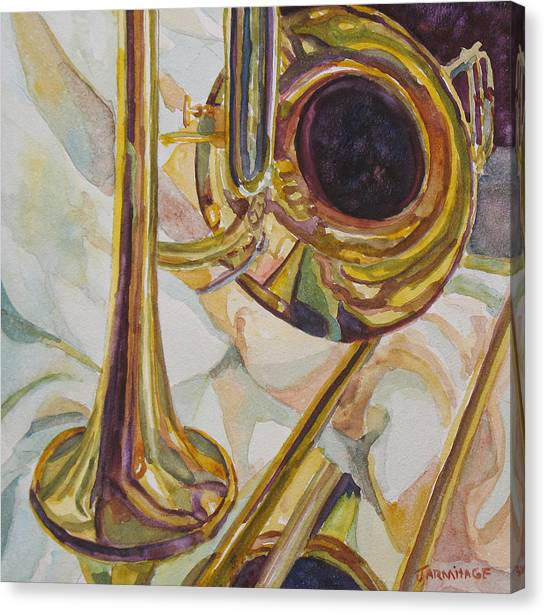 Trombones Canvas Print - Brass At Rest by Jenny Armitage
