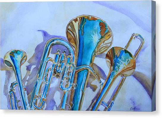 Trombones Canvas Print - Brass Candy Trio by Jenny Armitage